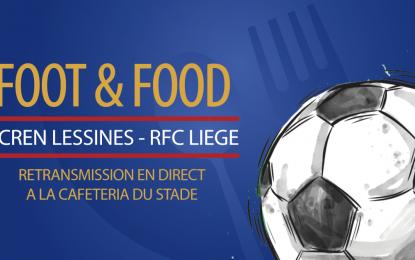 Grande première «Foot & Food»   Venez suivre le match Acren-Lessines – RFC Liège en direct à la cafétéria du Stade de Rocourt