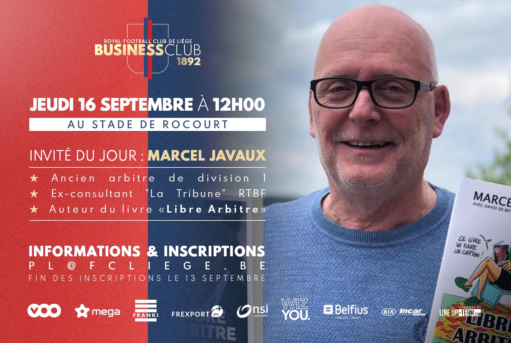 Business Club 1892   Le 16/09 avec Marcel Javaux